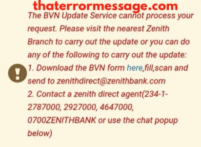 The Bvn Update Service Cannot Process Your Request Zenith Bank