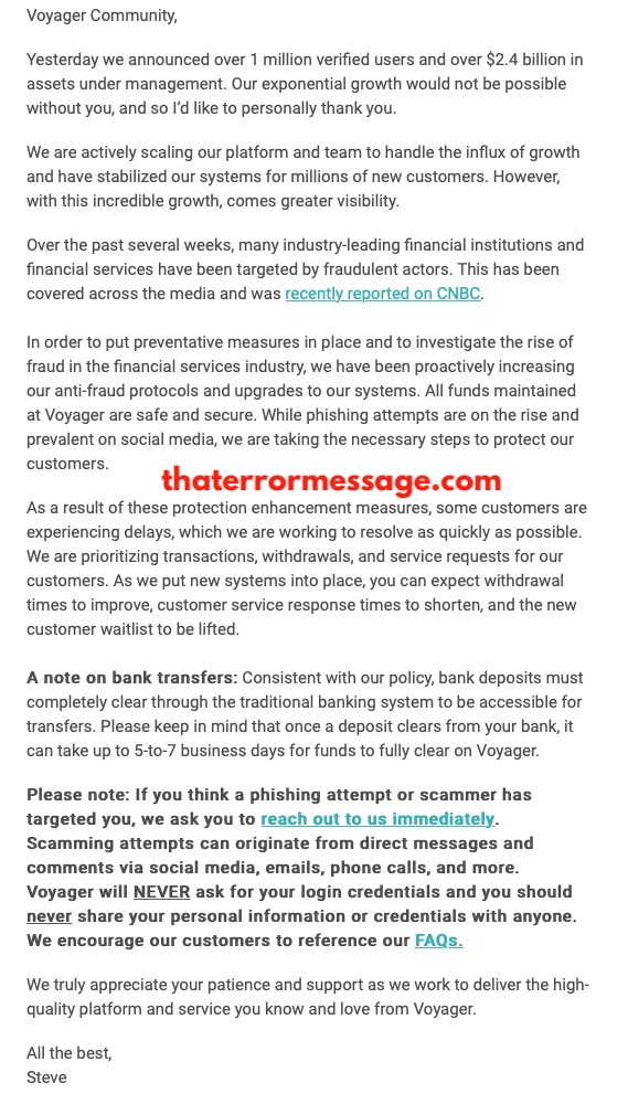 An Important Letter To Our Customers Voyager App