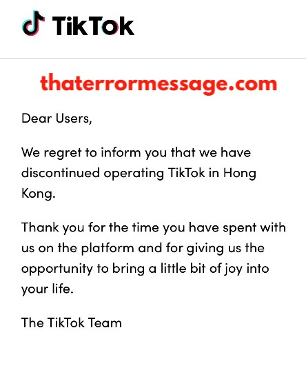 We Regret To Inform You That We Have Discontinued Operating Tiktok In Hong Kong