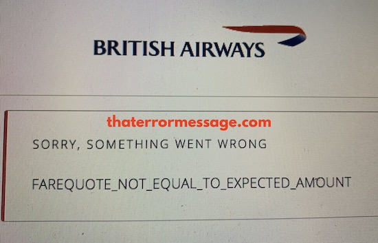Not Equal To Expected Amount British Airways