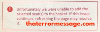 Unable To Add The Selected Seats To The Basket Roker Report