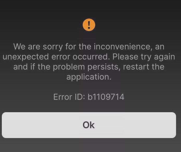 Unexpected Error Has Occurred B1109714 Coinbase Pro